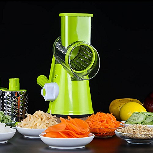 Ad Fresh Vegetable Grater Mandoline Slicer, Rotary Drum Fruit Cutter Cheese Shredder with 3 Stainless Steel Rotary Blades
