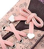SAFATA Geldbörse Damen Blumen Schnürsenkel Schuhband Geldbeutel Leder Elegant Süß Portmonee Brieftasche Lange Schöne Portemonnaie Groß für Frauen (Rosa) - 2