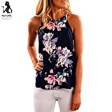 Damen Tops,Btruely Frau Ärmellos T-Shirt Blume Gedruckt Tank Tops (Asien Größe:L, Dunkelblau)