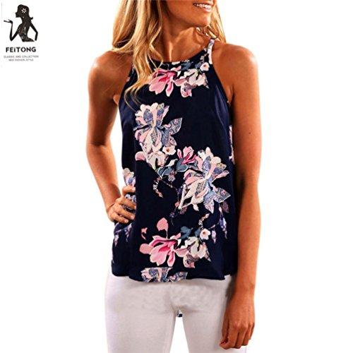 Damen Tops,Btruely Frau Ärmellos T-Shirt Blume Gedruckt Tank Tops (Asien Größe:S, Dunkelblau) (Gedruckt Neckholder-top)