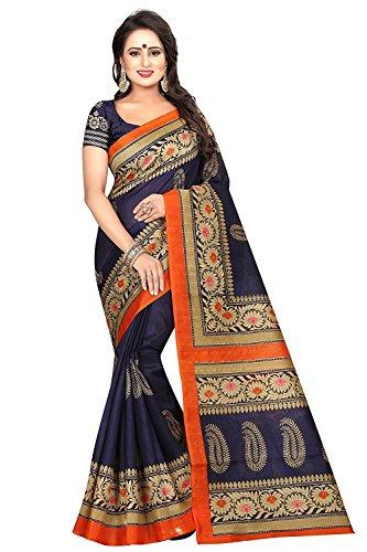 Shree Ram Krishna Bhagalpuri Cotton Silk Printed saree for Women's (Navy Blue)