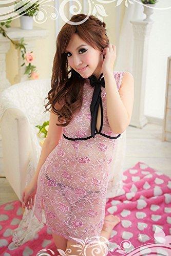 Shangrui Femmes Tentation Cosplay Cheongsam Dress Jeu de Dentelle Uniformes Sous Transparent W024 pink