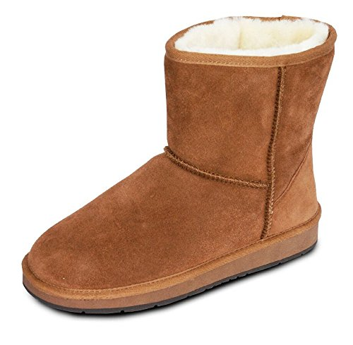 Damen Fell Boots Lammfell Stiefel, Fellstiefel, Fellboots, Camel, Grau (39, Camel)