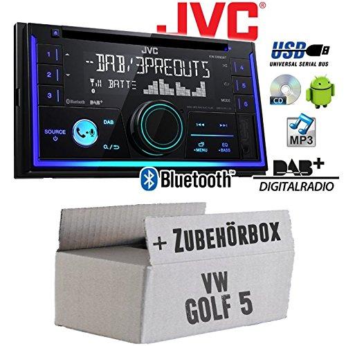 Autoradio Radio JVC KW-DB93BT - 2-DIn DAB+ Bluetooth MP3 USB - Einbauzubehör - Einbauset für VW Golf 5 V -inkl. Lenkradfernbedienungsadapter und CanBus Adapter - JUST SOUND best choice for caraudio Din Radio Block