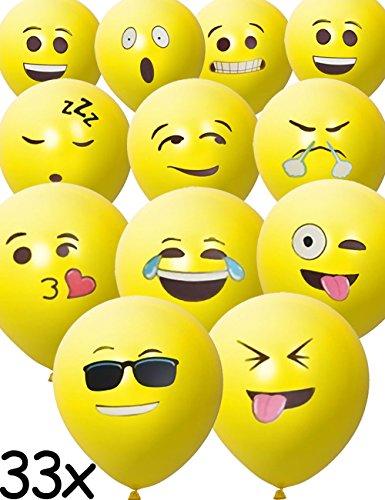 Stück Smiley Luft-Ballons | lustige freche Emoji Gesichter aufblasbar 30cm | Deko Party Fasching Kinder-Geburtstag | gelb 33er Pack (Geburtstag Party-ideen Für Kinder)