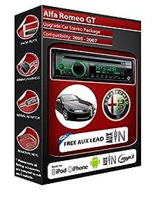 Alfa Romeo GT autoradio Clarion kit lecteur CD MP3 radio play, iPod, iPhone, Android