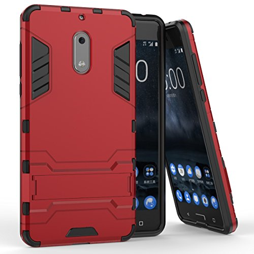 Pour Nokia Lumia 6 Case 2 En 1 double couche TPU / PC Defender Hybrid Armor Shock-Absorption Bumper & Anti-Scratch Back Cover With Stand antichoc ( Color : Red ) Red