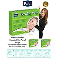 Pufai Breathe Fresh Nasal Strips.30 Piece in 3 Box Standart Size Nasal Strips (55 * 16 mm)