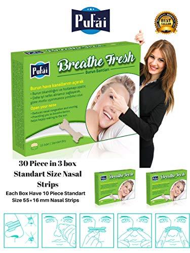 Nasenstreifen. 30 Stück in 3 Box, Standardgröße (55 * 16 mm) atmen frische Nasenstreifen von Pufai.