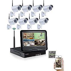 """SW 8 Kanal CCTV Wireless NVR Video Sicherheitssystem mit 8 Wetter 2.8-12.0mm Handbuch Zoomobjektiv 720P IP drahtlose Gewehrkugel Kameras Vorinstallierte 1 TB Festplatte Wireless-NVR mit 10,1 """"-Monitor"""