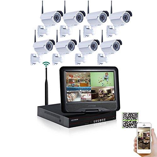 SW 8 Kanal CCTV Wireless NVR Video Sicherheitssystem mit 8 Wetter 2.8-12.0mm Handbuch Zoomobjektiv 720P IP drahtlose Gewehrkugel Kameras Vorinstallierte 1 TB Festplatte Wireless-NVR mit 10,1