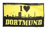 Fahne / Flagge I Love Dortmund + gratis Sticker, Flaggenfritze®