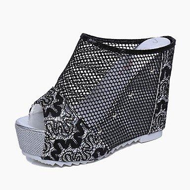 Sandali Primavera Estate Autunno scarpe Club Comfort PU outdoor casual Tacco a cuneo merletto di cucitura piattina intrecciata a piedi Gold