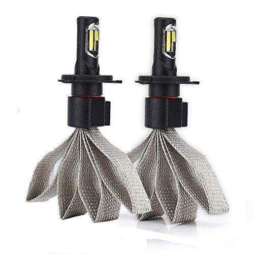 Diesel Auto 2x H4 LED Scheinwerfer Birne 60W 6400LM 6000K Weiß mit COB Chips Abblendlicht Birnen Kit Ersatz Halogen Hid Lampen - 2 Yr Garantie (Justierbares Halogen-licht)