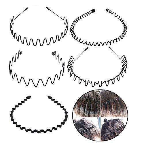 5 Stück Unisex Schwarz Welle Metall Stirnband Haarbänder Haarreifen Haarschmuck Stirnband Zubehör-Schwarz Für Männer Frauen -