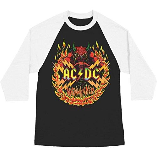 Ac/Dc - AC / DC - Herren Flammen Raglan Black/White