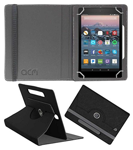 """ACM Designer Rotating Leather Flip Case for Amazon Fire Tablet 7"""" Cover Stand Black"""
