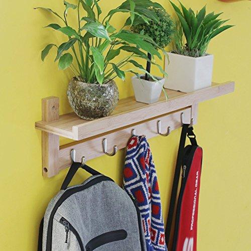 HOMFA Wandregal Wandboard Regal Flurgarderobe Hängeregal Dekoregal Schlüsselhaken mit 5 Haken und Ablage, 12cm tief, Bambus
