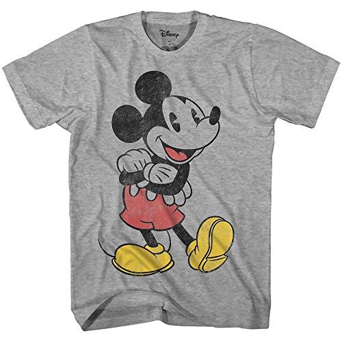 Disney Mickey Mouse Lean Forward Disneyland World Retro Classic Vintage Tee Funny Humor Adult Mens Graphic T-Shirt Apparel (Heather Grey, XX-Large) -