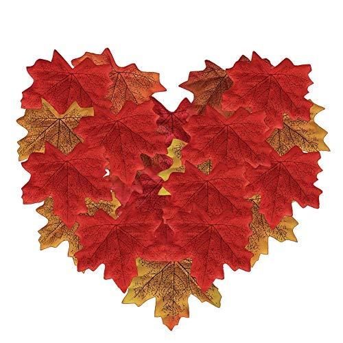Surtido de 300 piezas Hojas de Arce Otoño Papeles Artificiales Multicolor Decoración para Fiesta Escaparate hojas de seda decoración de la boda del jardín opción de 5 colores