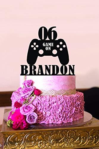 Decoración para tarta de cumpleaños con diseño de videojuegos, deco