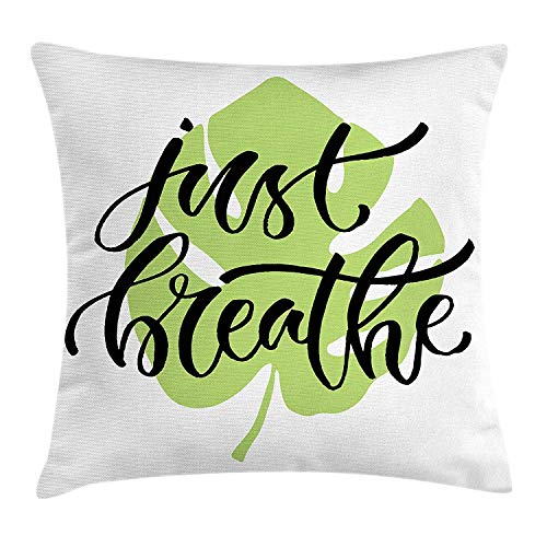 Just Breathe Throw Pillow Cushion Cover, Tropical Leaf with a Motivational Phrase Philosophy and Wisdom, Decorative Square Accent Pillow Case, 18 X 18 inches, Apple Green Black White