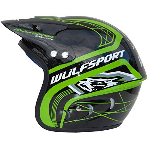 Moto CASCHI Bambini WULFSPORT Trials Action Jet Casco Motocross Enduro Open Face ATV Bambino Casco Aperto (Verde, S (55-56CM))