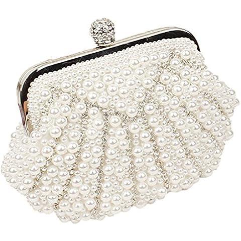 Satinato matrimoni feste ciuccio Evening Bags Purses borsetta con perle, colore: bianco con strass, colore: nero - Green Zebra Animal Print