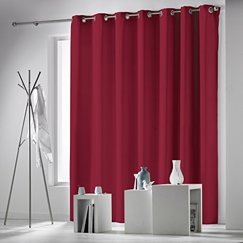 Douceur d'Intérieur 1606257 Occulteo Rideau à Oeillets Occultant Polyester Rouge 260 x 280 cm