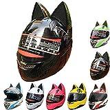 Yetoukui Kreative Süße Katze Ohren Motorradhelm,Junge Männer Und Frauen Kühles Motorrad...