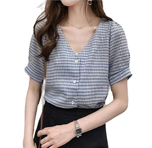 CuteRose Women's Plaid Slim Fitted V Neck Botton Front Work OL T-Shirt Top Light Blue 2XL Elbow Sleeve Thermal