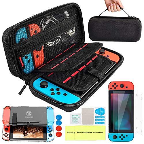 Kit de Accesorios 14 en 1 para Nintendo Switch, Funda Protectora para Interruptor Nintendo, Cubierta Transparente para Interruptor, Protector de Pantalla, Tapas Empuñadura de Pulgar