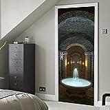 YMRAAN Kreative 3D Tür Aufkleber Palast Brunnen DIY Dekorativ Wandaufkleber Wohnzimmer Schlafzimmer Tür Abnehmbar Selbstklebend Tapete Wasserdicht Kunst Poster Wandbild