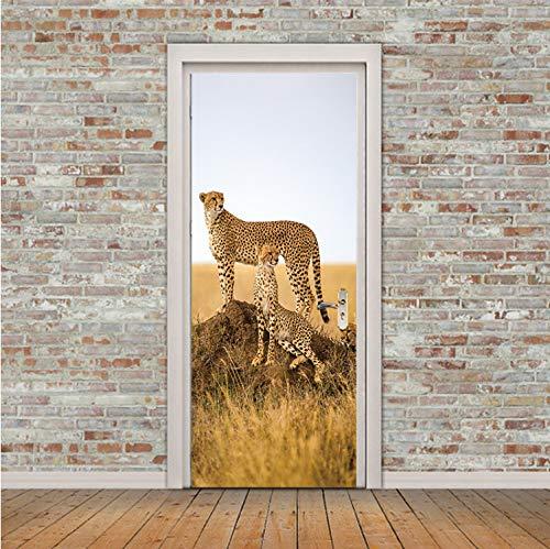 asfrata265 Kreative Tier Cheetah Leopard Tür Aufkleber Korridor Tapete Poster Wandaufkleber Büro Schlafzimmer Wohnzimmer Dekoration 90X200 ()