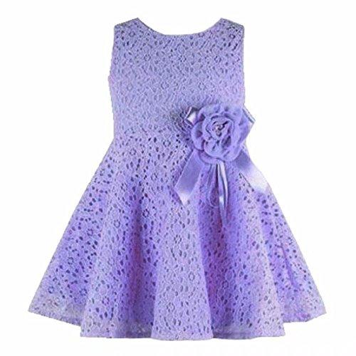 Tonsee Neue Sommer Kleider Babykleidung Mädchen Prinzessin Mädchen Weste Kleid Partei Kleider Kinderkleidung hohlen Partei Kostüm für 0-7 Jahre (1-2Y, lila)