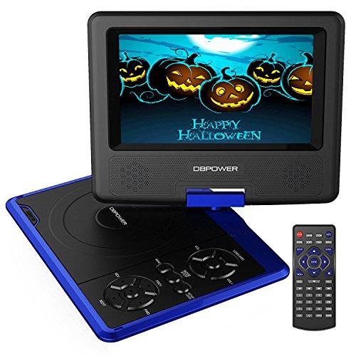 7.5'' Tragbarer DVD-Player, 5 Stunden Akku, schwenkbaren Bildschirm, unterstützt SD-Karte und USB, mit Spiele-Joystick, Auto-Ladegerät--Blau Billige Dvd-player
