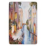 BagsPillow Bathroom Bath Rug Kitchen Floor Mat Carpet,Venice,Historical City Vintage Houses Water Canal Venice Italy Oil Painting,Blue Ivory and Orange,Flannel Microfiber Non-Slip Soft Absorbent