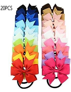 Ammon Lowen 20pcs lazo elástico bandas de pelo Ties colorido cuerda de goma para niñas niños bebé niño Teens