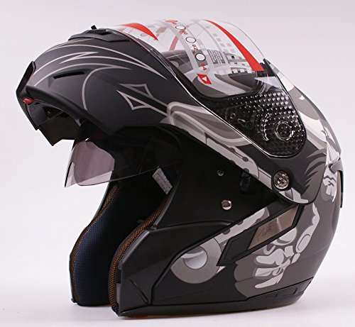 Casco da moto modulare apribile, jet/integrale con doppia visiera, colore nero opaco, per moto/Vespa
