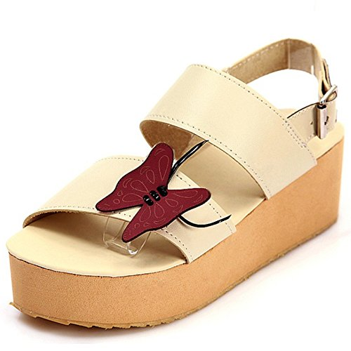 TAOFFEN Femmes Mode Bout Ouvert Sandales Compensees Plateforme Slingback Ete Chaussures 787 Beige