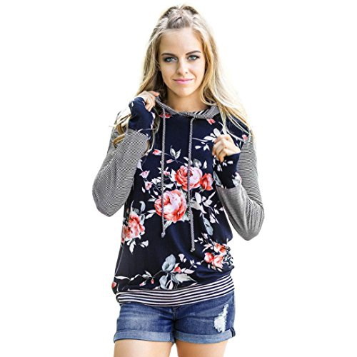 Challeng Frauen Floral Gestreiftes Langarm-Shirt Lose Tops Hoodie Sweatshirt (2XL, Blau)