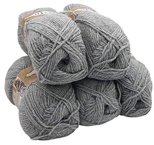 Alpaka Royal 5 x 100 Gramm Alize Strickwolle, 500 Gramm Wolle einfarbig (hellgrau 21)