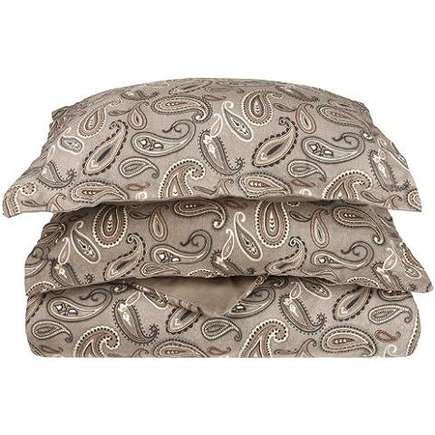 Impressions-Set copripiumino di flanella, cotone, motivo: Paisley, colore: grigio,/Full