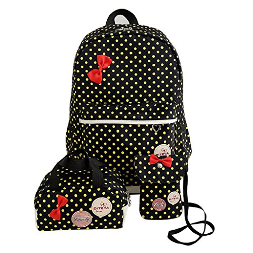 Kangrunmy Zaino da viaggio Bag Donne Bambine Dots bowknot nylon scuola + borsa + Shoulder Bag 1Set Nero