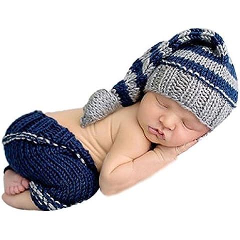 Malloom®recién nacido bebé hecho a mano punto de ganchillo ropa apoyo foto trajes sombrero+pantalones(gris azul)