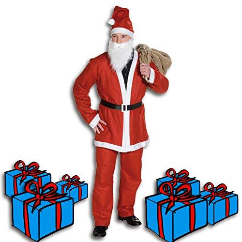 Santa Kostüme Anzug Claus (Weihnachtsmann Kostüm 5 Teilig Nikolaus Santa Claus 5 teilig Verkleidung)