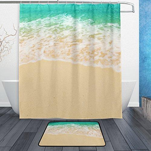 JSTEL Strand Meer 3-piece Badezimmer-Set maschinenwaschbar, für den täglichen Gebrauch, 60x 72cm, wasserdicht, Duschvorhang, 12Haken mit rutschfester Badteppich, Teppich, Set mit 3Stück - Meer Duschvorhang-sets