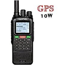 Walkie Talkie Profesional Largo Alcance EasyTalk ET-889 GPS 10W Doble Banda VHF UHF PMR446 Impermeable IP55 Portatil Emisora Radioaficionado con Auricular y el Cable de Programación para Coche/caza