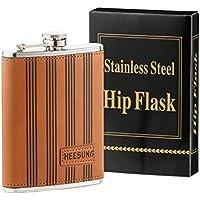 heesung Fiaschetta in acciaio inox in tre diversi colori in pelle, Whisky Fiaschetta e Flask Liquore 8OZ, Fiaschetta di metallo vintage a vite tappo Brown and Rectangle Logo