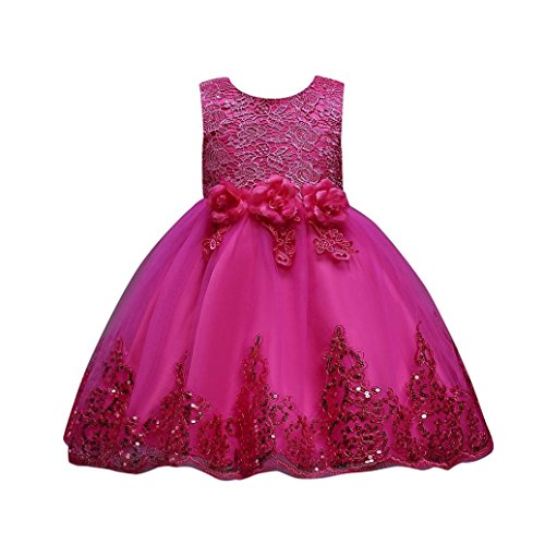 UOMOGO Abito Bambina Principessa Vestito da Cerimonia per la Damigella Bowknot Floreale Abiti per la Matrimonio Carnevale Natale Regalo (età: 3 Anni, Rosa Caldo)